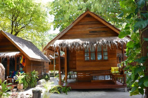 Some of the more than 40 freestanding bungalows at Lipe Beach Resort.