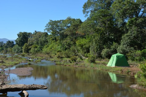 Camping by the river in Laos.