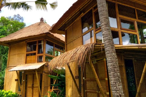 The simple bamboo bungalows.