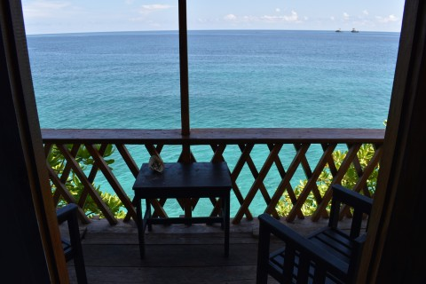 The overwater outlook from the cliffside rooms is divine.