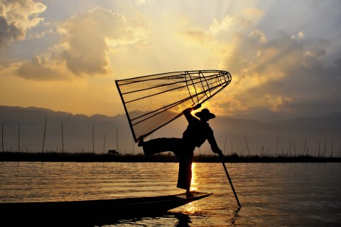 On the waters of Inle Lake.