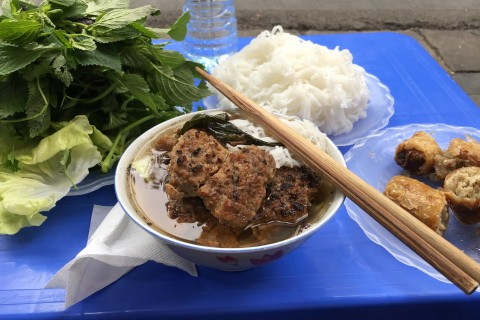 Bun cha ready to be gobbled down.