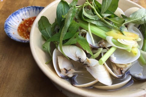 Lemongrass clams at Secret Garden Restaurant.