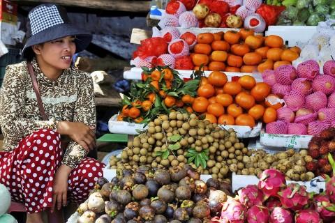 Fruit vendor at Phsar Leu, Kompong Chhnang's main market.