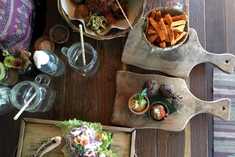 The tacos, nasi campur, falafel and sweet potato fries at Peloton.