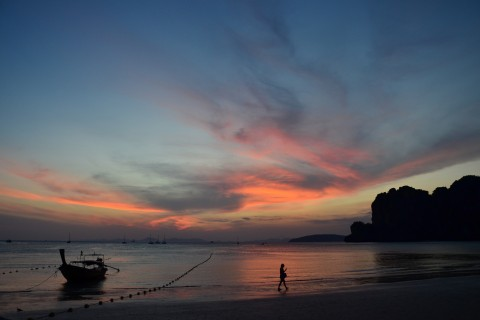 Evening lightshow. Photo taken in or around Railay Beach, Thailand by David Luekens.