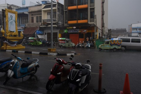 Putting Trang's signature frog-style tuk tuks to the test. Photo taken in or around Trang, Thailand by David Luekens.
