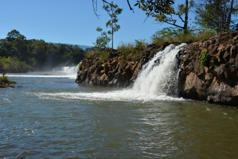 Multiple falls at Tad Houa Khon. Photo taken in or around Sekong, Laos by Cindy Fan.