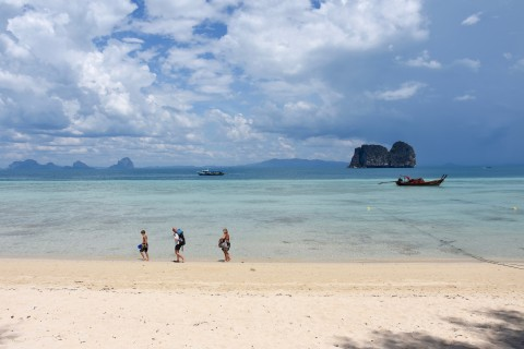 There are worse places to lug a pack. Photo taken in or around Ko Ngai, Thailand by David Luekens.