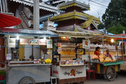 Holy crepes (and a holy temple). Photo taken in or around Pai, Thailand by Mark Ord.