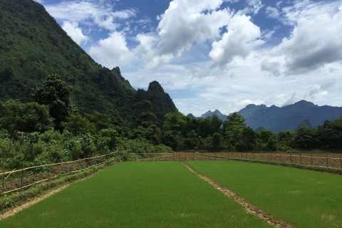 The surrounds are equally pretty. Photo taken in or around Vang Vieng, Laos by Cindy Fan.