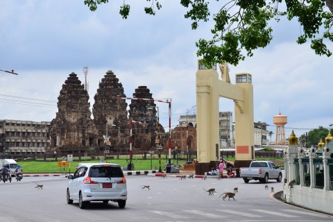 Lopburi's ruins are notable for blending into everyday life in the town. Photo taken in or around Lopburi, Thailand by David Luekens.