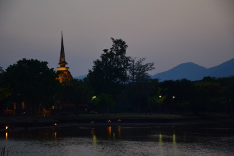 Twilight at Wat Sa Si. Photo taken in or around Sukhothai, Thailand by David Luekens.
