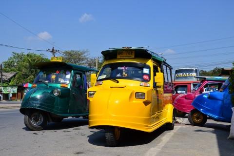 Ayutthaya has its own flavour of tuk tuks. Photo taken in or around Ayutthaya, Thailand by David Luekens.