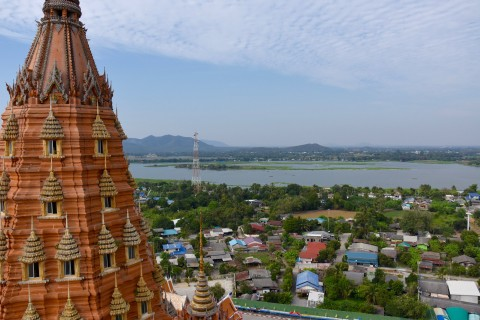 Climb  to a hilltop temple. Photo taken in or around Kanchanaburi, Thailand by David Luekens.