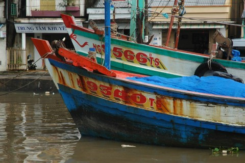 Moored fishing boats. Photo taken in or around Rach Gia, Vietnam by Stuart McDonald.
