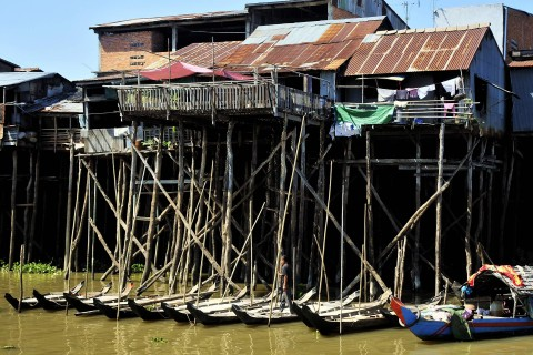 The typical stilted homes of riverside Kompong Chhnang. Photo taken in or around Kompong Chhnang, Cambodia by Mark Ord.