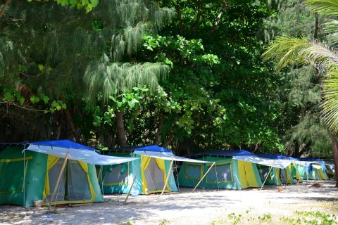 A lot better than the usual national park tents. Photo taken in or around Ko Lao Liang, Thailand by David Luekens.
