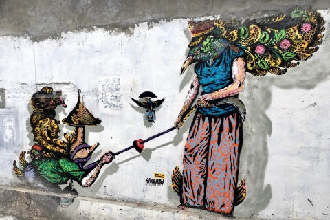 Street art makes for a vibrant city. Photo taken in or around Yogyakarta, Indonesia by Sally Arnold.