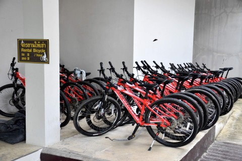 Bikes for rent at the visitor centre.