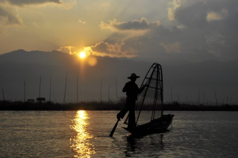You'll need an early rise to catch the best shots of Inle Lake's iconic fishermen.
