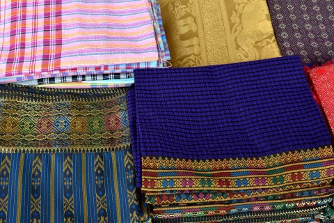 Silks at the market, likely from nearby Pak Thong Chai. Photo taken in or around Nakhon Ratchasima, Thailand by David Luekens.