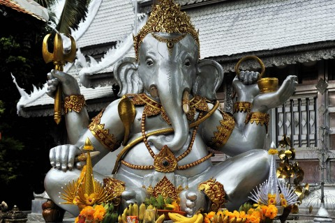 Silver Ganesh. Photo taken in or around Wat Sri Suphan, Chiang Mai, Thailand by Mark Ord.