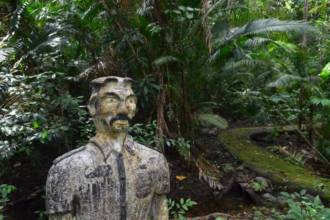 Angry-looking guards and prisoners pop up along the trail. Photo taken in or around Ao Talo Wao historical trail, Ko Tarutao, Thailand by David Luekens.