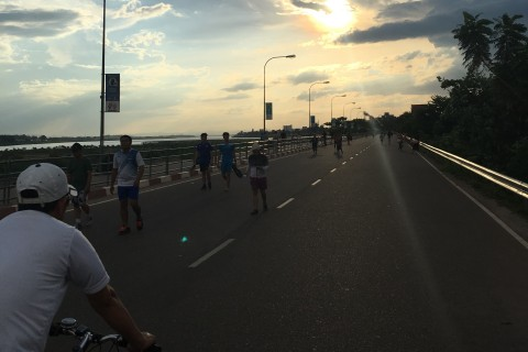 Locals take to the boulevard at the end of the day.
