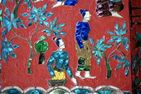 Mosaic detail at Wat Xieng Thong. Photo taken in or around The temples of Luang Prabang, Luang Prabang, Laos by Cindy Fan.