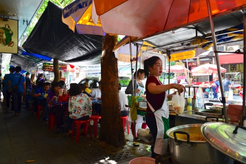 Grab a bite to eat at Khao Mok Gai Convent. Photo taken in or around Bangkok by Skytrain and Subway, Bangkok, Thailand by David Luekens.