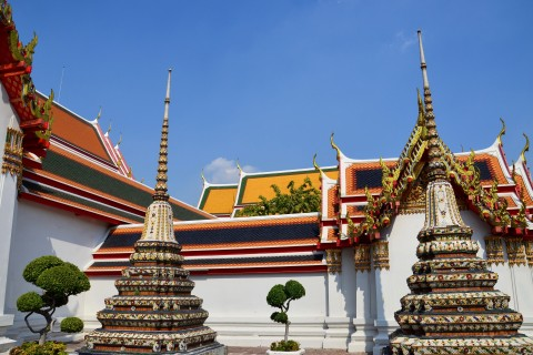 The spires of Wat Pho. Photo taken in or around Two days in Rattanakosin historic district , Bangkok, Thailand by David Luekens.