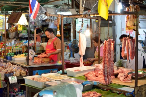 Traditional market scenes at Thewet. Photo taken in or around Day markets, Bangkok, Thailand by David Luekens.