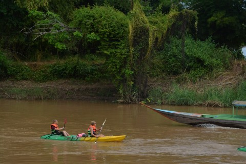 Traffic is generally fairly light. Photo taken in or around Kayaking the 4,000 Islands, Don Dhet, Laos by Cindy Fan.