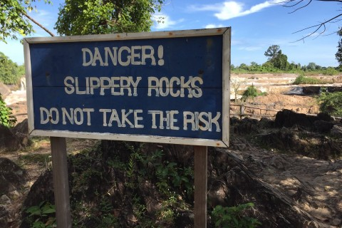 Solid advice. Photo taken in or around Li Phi Waterfall, Don Khon, Laos by Cindy Fan.