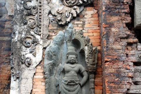Stucco decoration. Photo taken in or around Preah Ko, Angkor, Cambodia by Mark Ord.