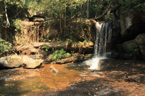 The small waterfall. Photo taken in or around Kbal Spean, Angkor, Cambodia by Caroline Major.