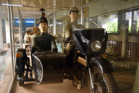 Wartime biking. Photo taken in or around War Museum & Art Gallery, Kanchanaburi, Thailand by David Luekens.