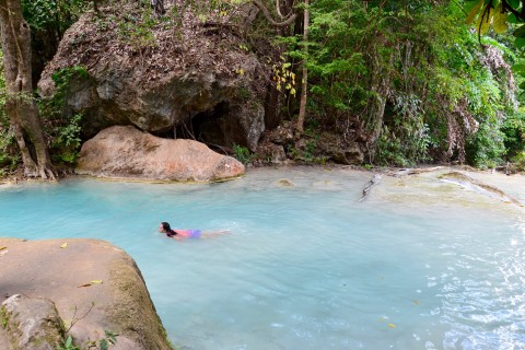The water really is that colour. Photo taken in or around Erawan National Park, Kanchanaburi, Thailand by David Luekens.