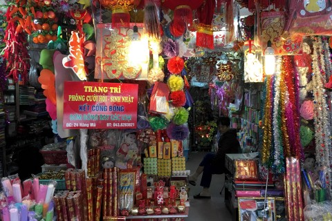 Hang Ma is home mostly to colourful paper votive items. Photo taken in or around Hanoi's 36 streets, Hanoi, Vietnam by Samantha Brown.
