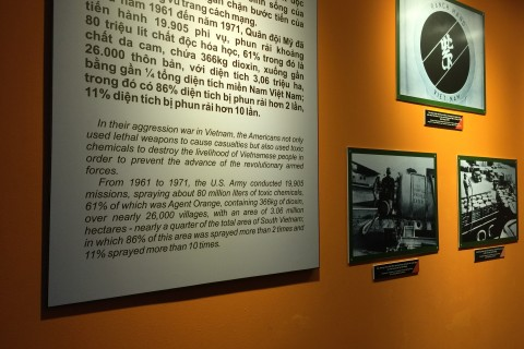 Detailed photographic displays. Photo taken in or around War Remnants Museum, Ho Chi Minh City, Vietnam by Cindy Fan.
