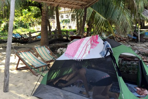 A tent set-up at Cham Restaurant on Bai Chong Beach.