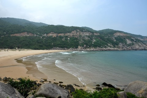 Swimming is suitable year-round at beautiful Bai Mon Beach. Photo taken in or around Dai Lanh Cape & Vung Ro Bay, Tuy Hoa, Vietnam by Cindy Fan.