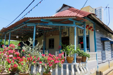 One of the few remaining traditional houses. Photo taken in or around Kampung Chetti, Melaka, Malaysia by Sally Arnold.