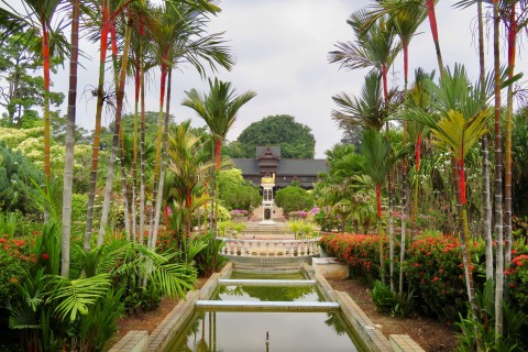 The gardens leading to the entrance. Photo taken in or around Melaka Sultanate Palace Museum, Melaka, Malaysia by Sally Arnold.