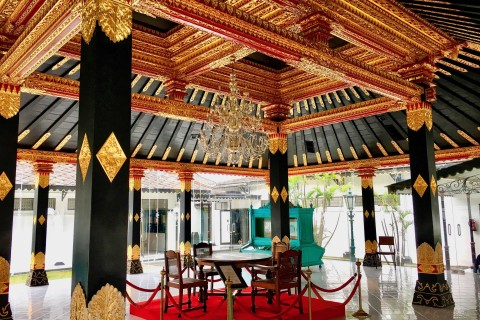 Glittering pavilions are well worthy of a browse. Photo taken in or around Kraton (Sultan's Palace), Yogyakarta, Indonesia by Sally Arnold.