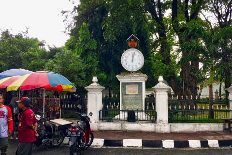 This is the clock near the correct entrance. Photo taken in or around Kraton (Sultan's Palace), Yogyakarta, Indonesia by Sally Arnold.