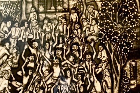 A detail of an Anonymous Banyuan-style kecak dance piece. Photo taken in or around Agung Rai Museum of Art (ARMA), Ubud, Indonesia by Sally Arnold.