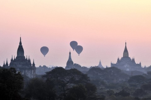 Sunrise view over old Bagan.
