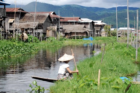 A village high street. Photo taken in or around Floating gardens and fishing villages, Inle Lake, Burma_myanmar by Mark Ord.